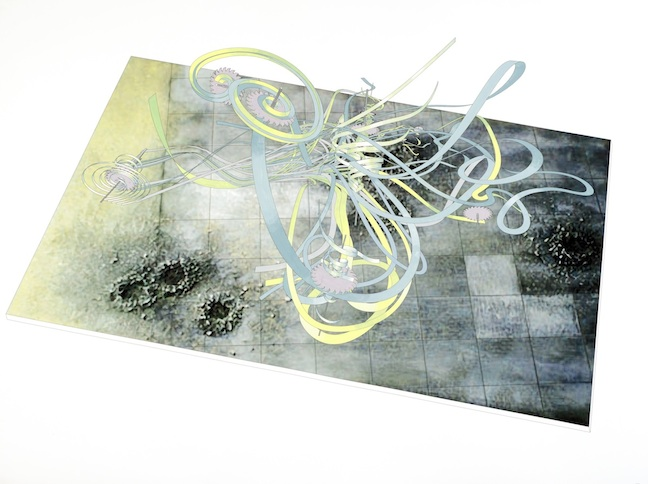 <h3>ALICE AYCOCK</h3> 						<h4> <em> From the Series Entitled 'Sum Over Histories' Timescape #3B Over a Bomb Field</em></h4> 						2011</br> 						Inkjet print and hand-painted watercolor on paper</br> 						47.75 x 64 inches</br>